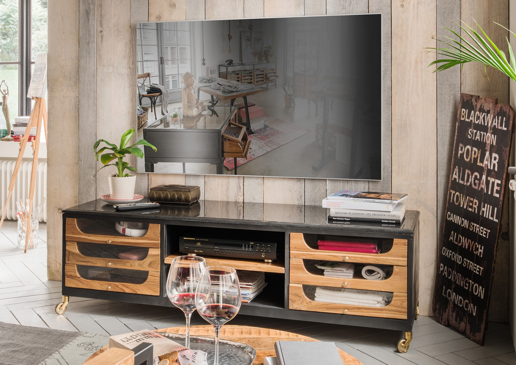tv hifi m bel design lowboards massivholz more2home. Black Bedroom Furniture Sets. Home Design Ideas